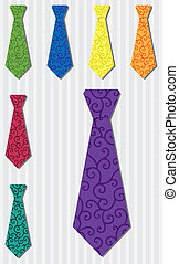 Tie Set - Bright filigree silk tie stickers in vector format...