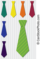 Tie Set - Bright pin stripe silk tie stickers in vector...