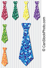 Tie Set - Bright mosaic silk tie stickers in vector format.