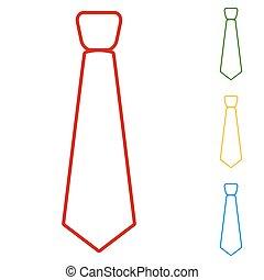 Tie. Set of line icons