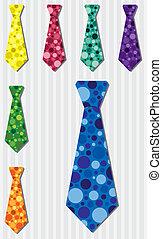 Tie Set - Bright bubble silk tie stickers in vector format.