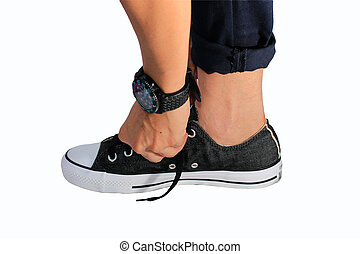 Tie shoes with white background