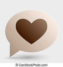 Tie sign. Brown gradient icon on bubble with shadow.