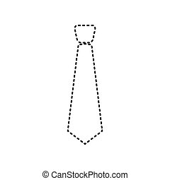 Tie sign illustration. Vector. Black dashed icon on white background. Isolated.