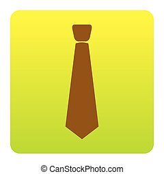 Tie sign illustration. Vector. Brown icon at green-yellow gradient square with rounded corners on white background. Isolated.