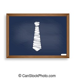 Tie sign illustration. White chalk icon on blue school board wit