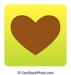 Tie sign. Vector. Brown icon at green-yellow gradient square with rounded corners on white background. Isolated.