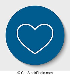 Tie sign. Vector. White contour icon in dark cerulean circle at white background. Isolated.