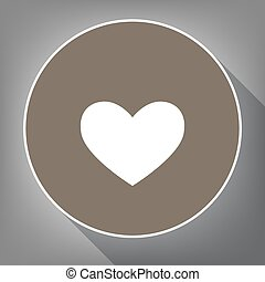 Tie sign. Vector. White icon on brown circle with white contour and long shadow at gray background. Like top view on postament.