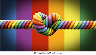 A coarse rope in the colors of the homosexual flag with a knot tied in the middle on an isolated background