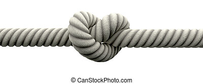 Tie The Knot With Wedding Rings - A coarse rope with a knot ...