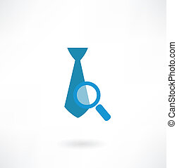 tie under a magnifying glass icon
