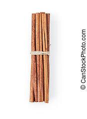 tied cinnamon cassia sticks, isolated on white