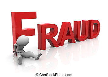 Tied Criminal - 3d man tied with text 'fraud'after...