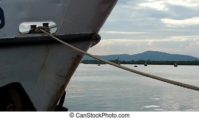 Tied down by Mooring Rope. Ship Bow