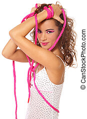 Tied hands - Beautiful sexy girl tied with pink rope, on...