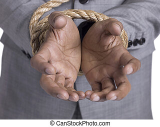 tied hands of a man