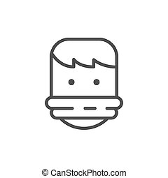 Tied hostage line outline icon isolated on white. Vector ...