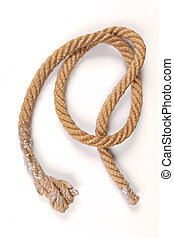 Old tied knot rope on white background