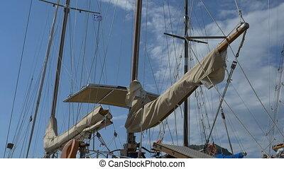 Tied Sails on Vintage Yacht