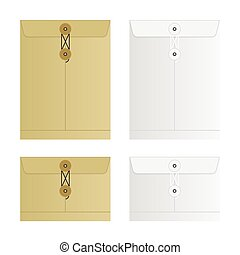 Tied Sealed Letter Envelopes Set Isolated on White Background. Collection of the vector envelope templates. Brown, yellow and white colors. Top view.