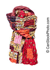 tied stitched red brown patchwork scarf isolated