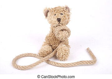 Tied teddy bear - Teddy bear tied up with a rope, bullying