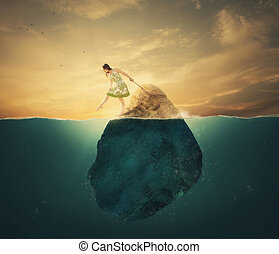 Tied to a rock - A woman tied to a rock in the deep waters.