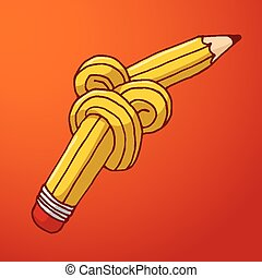 Tied up pencil with complex knot - Cartoon illustration of...