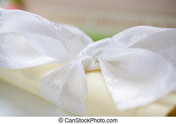tied white ribbon