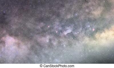 tief, zoom, in, der, galaxie