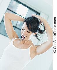 tieing, hår, kvinna
