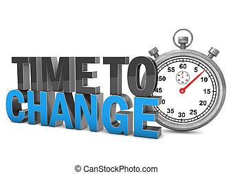 tiempo, a, cambio, cronómetro