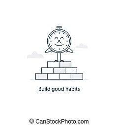 tiempo, a, cambio, y, desarrolle, bueno, hábitos