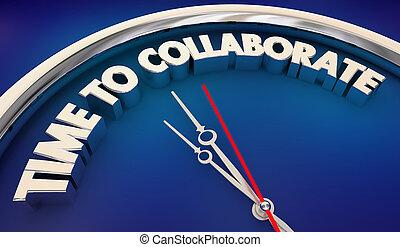 tiempo, a, colaborar, reloj, palabras, 3d, ilustración