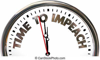 tiempo, a, impeach, reloj, palabras, 3d, ilustración