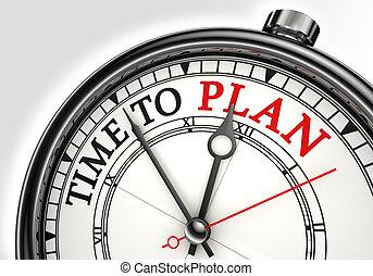 tiempo, al plan, concepto, reloj