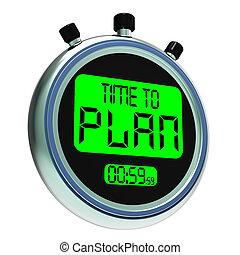 tiempo, al plan, messager, actuación, organizador, estrategia, y, planificación
