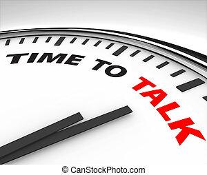 tiempo, -, charla, reloj