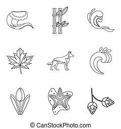 tiempo, clima, iconos, conjunto, contorno, estilo