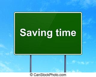 tiempo, concept:, ahorro, tiempo, en, muestra del camino, plano de fondo