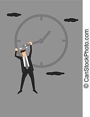 tiempo, conceptual, ilustración, luchar, vector, dirección