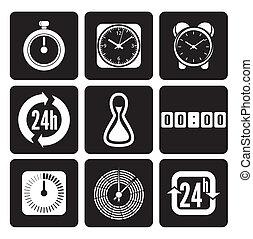 tiempo, conjunto, iconos, clocks