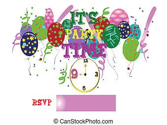tiempo de la fiesta, con, reloj, blanco