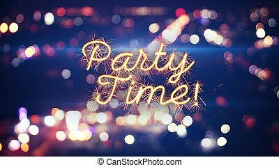 tiempo de la fiesta, sparkler, texto, y, ciudad, bokeh,...