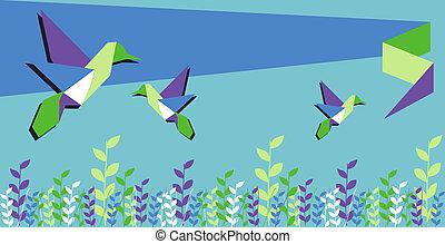 tiempo del resorte, colibrí, origami