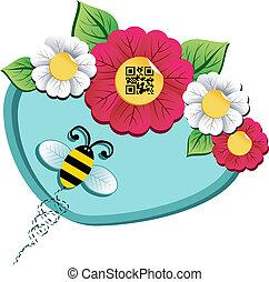 tiempo del resorte, flor, y, abeja, con, qr, código