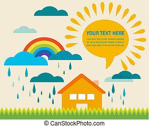 tiempo del resorte, ilustración, con, sol, y, llover, nubes