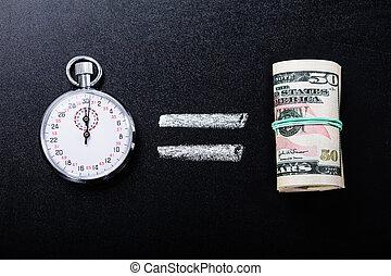tiempo, dinero, concepto, igual, pizarra
