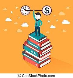 tiempo, dinero, ilustración, isométrico, concepto, plano, 3d